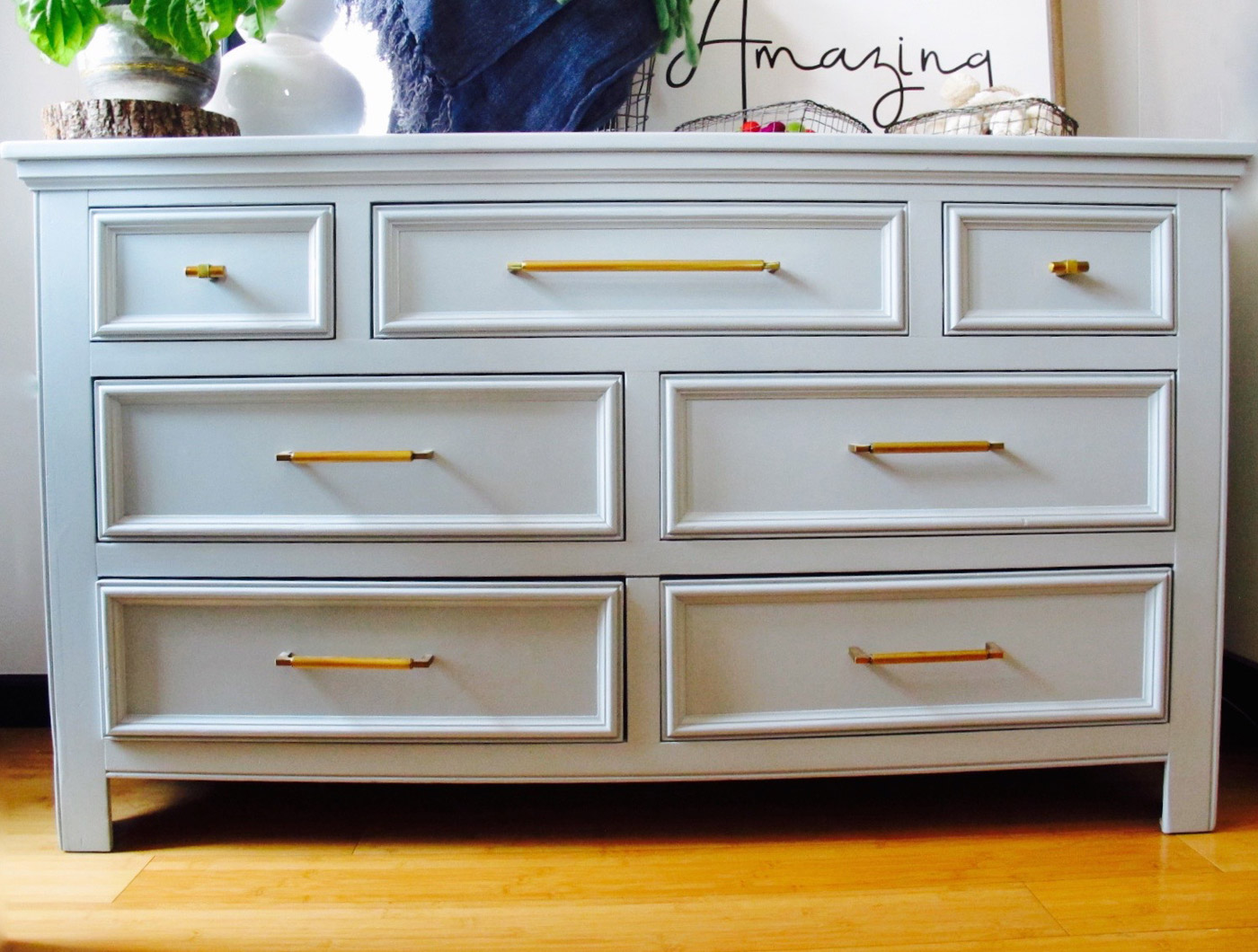 Gray Dresser - Gold Bar Hardware - The Phinery Furniture Seattle