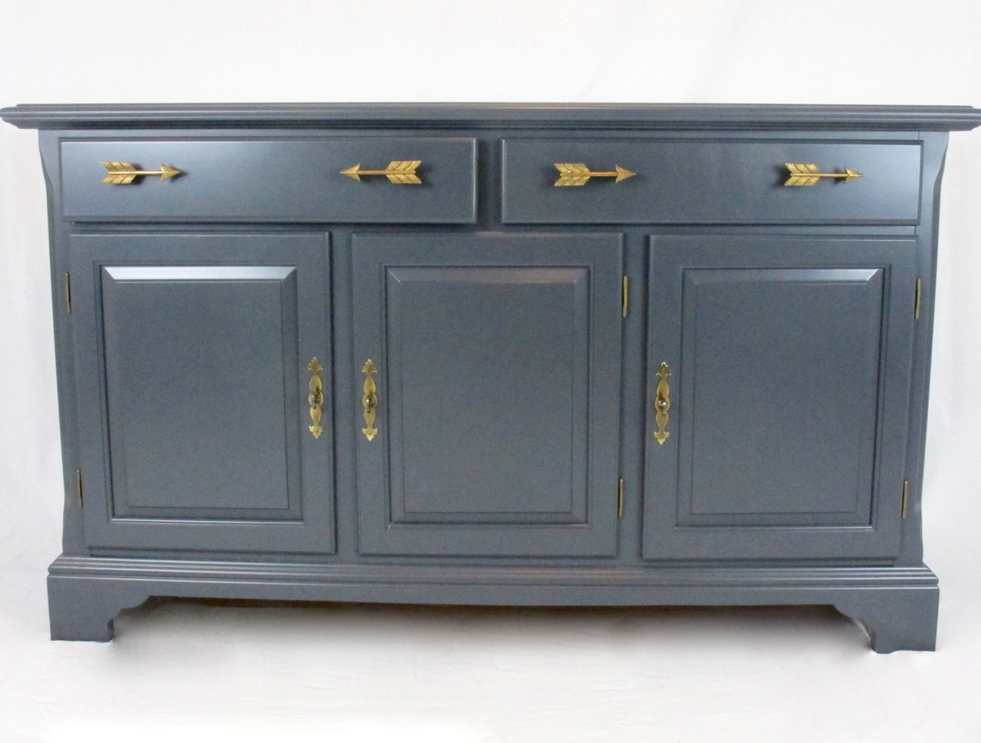 Navy Gray Gold Arrow Media Console - The Phinery Furniture Seattle
