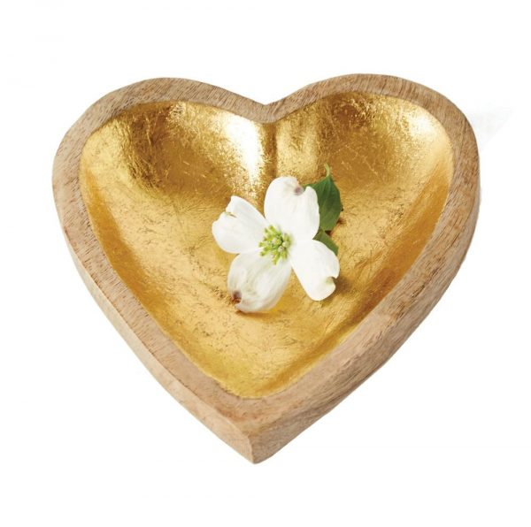 Wooden Gold Heart Tray - The Phinery