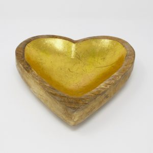 Heart Shaped Wood Gold Tray