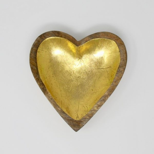 Wood Gold Heart Tray - The Phinery