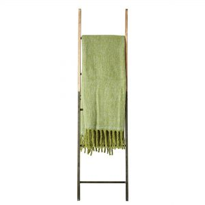 Green Mohair Throw Blanket with Fringe