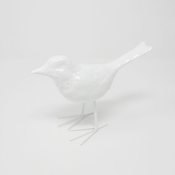 Decorative White Resin Bird - The Phinery