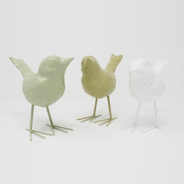 Decorative Resin Birds in cream, taupe, and white