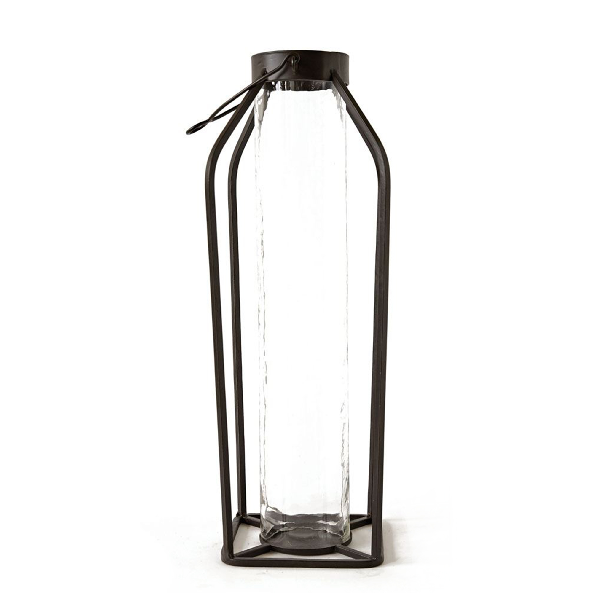Tall Glass and Black Metal Lantern