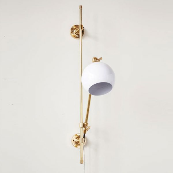 Brass and White Adjustable Wall Sconce