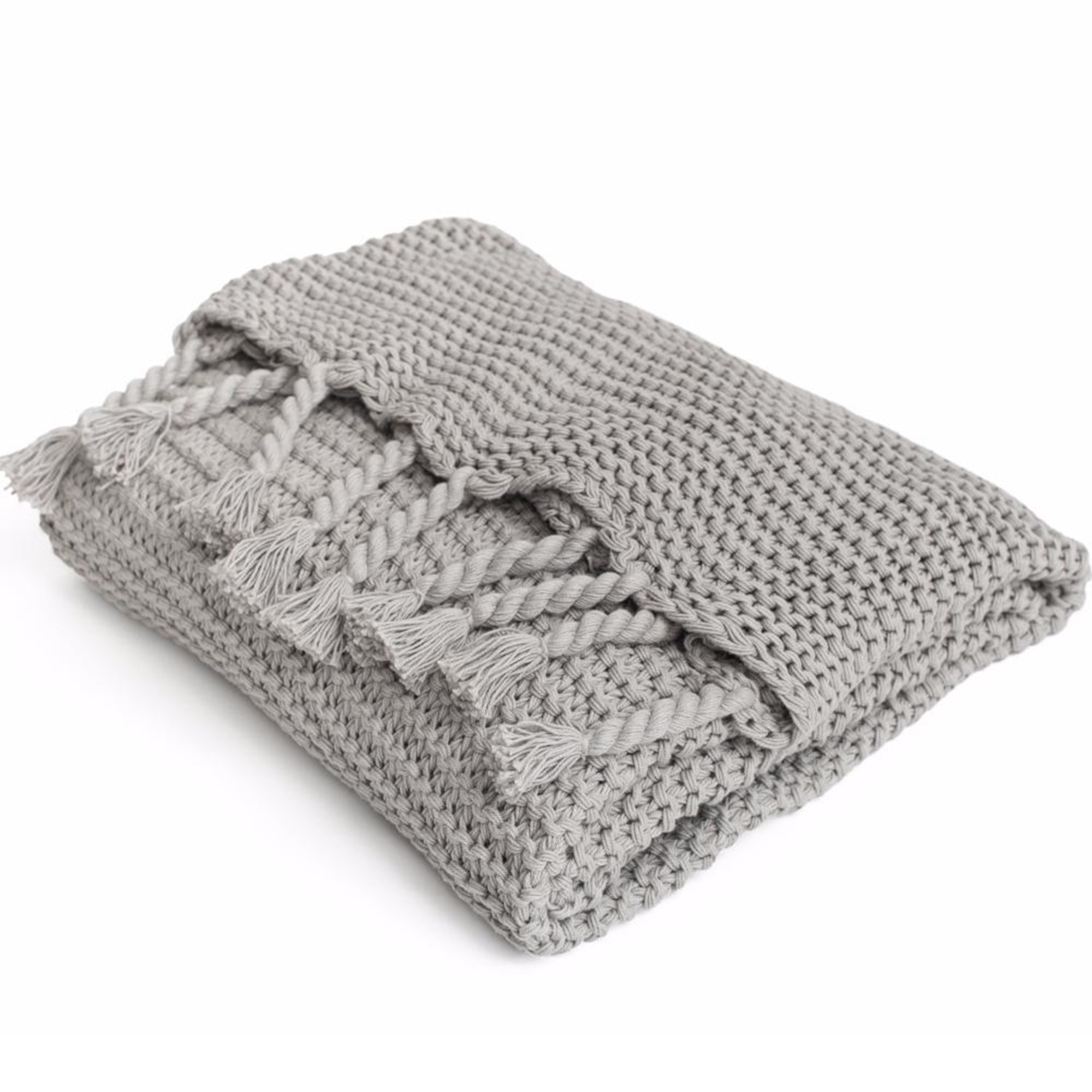 Gray Chunky Knit Throw Blanket with Tassels