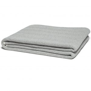 Gray Herringbone Print Throw Blanket