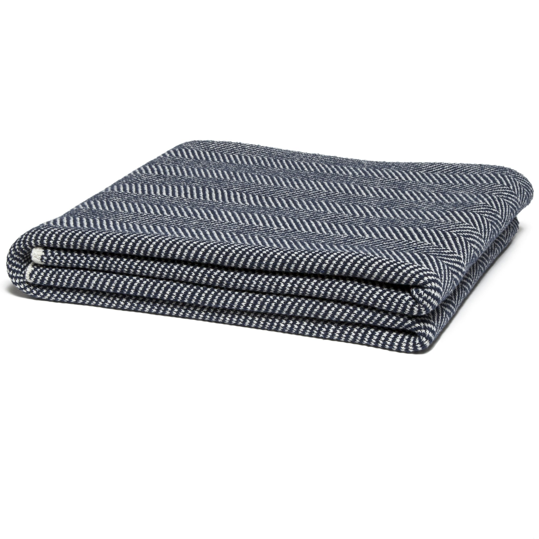 Navy Blue Herringbone Print Throw Blanket