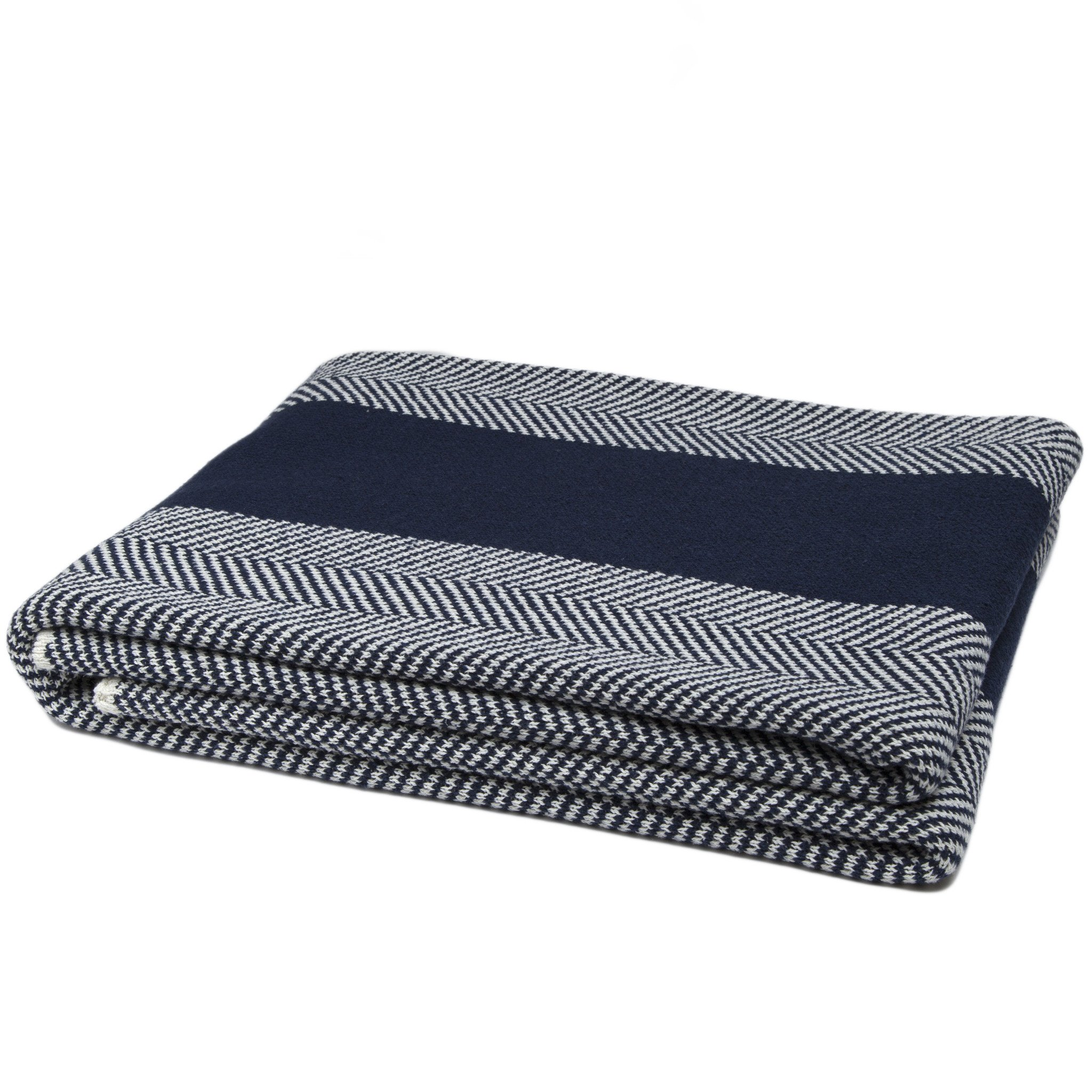 Navy Blue Herringbone Stripe Throw Blanket