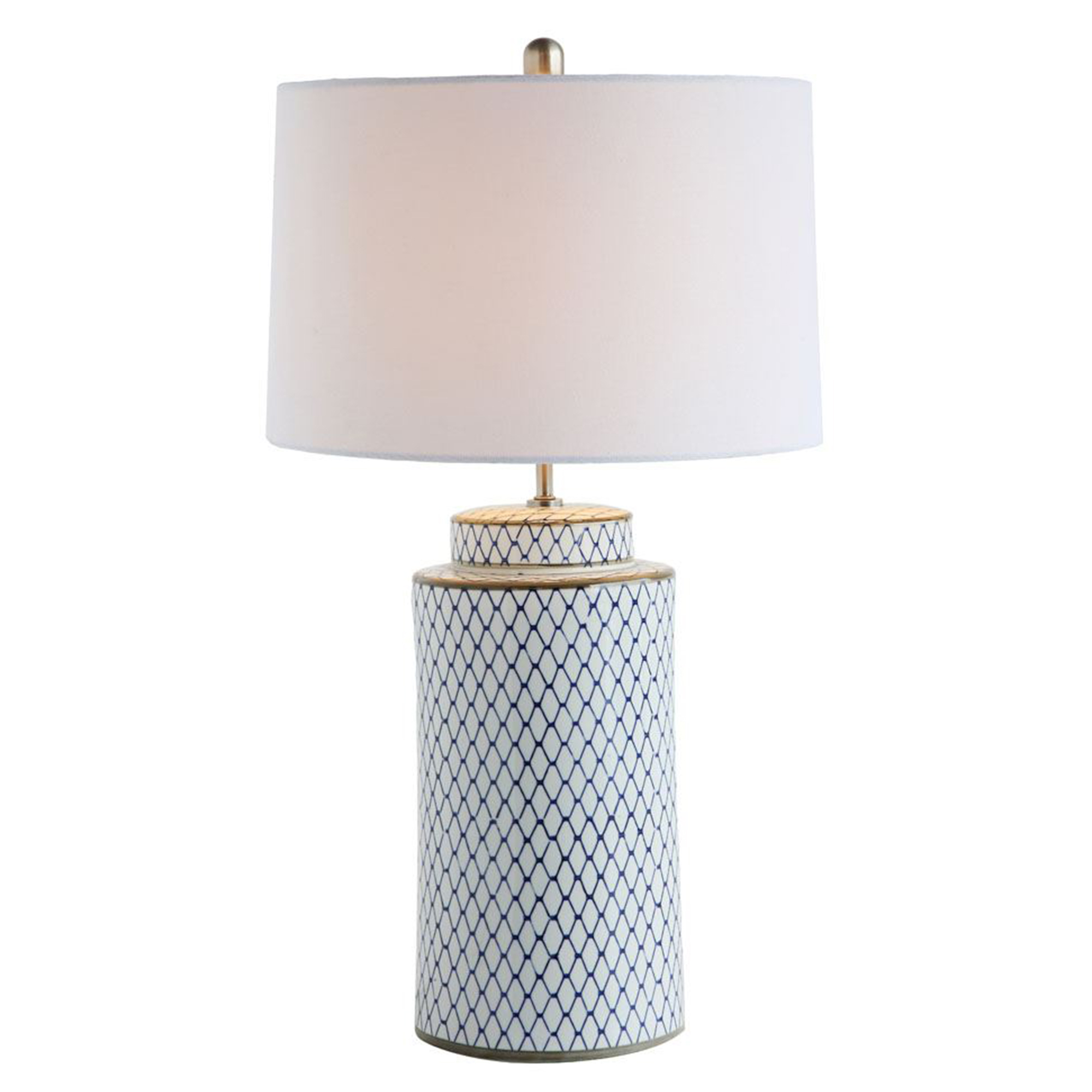 Indigo and White Table Lamp with Linen Shade