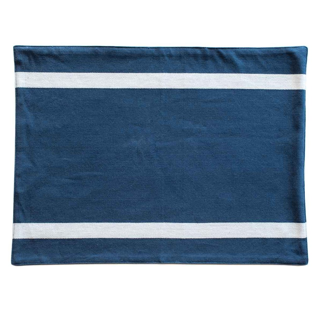 Organic Cotton Striped Placemat in Navy