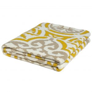 Yellow and Beige Vintage Tile Print Throw Blanket