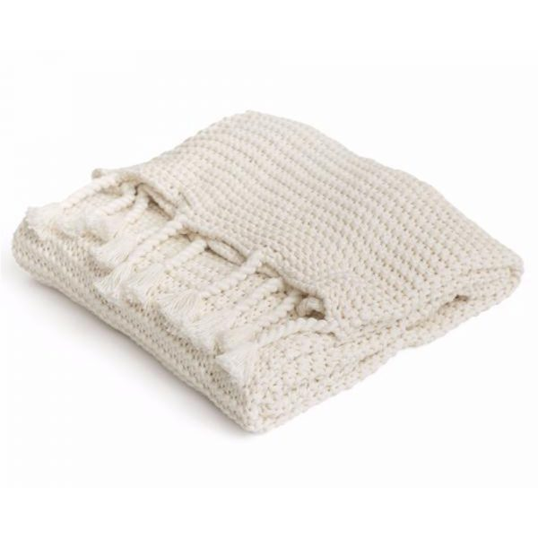White Chunky Knit Throw Blanket with Tassels