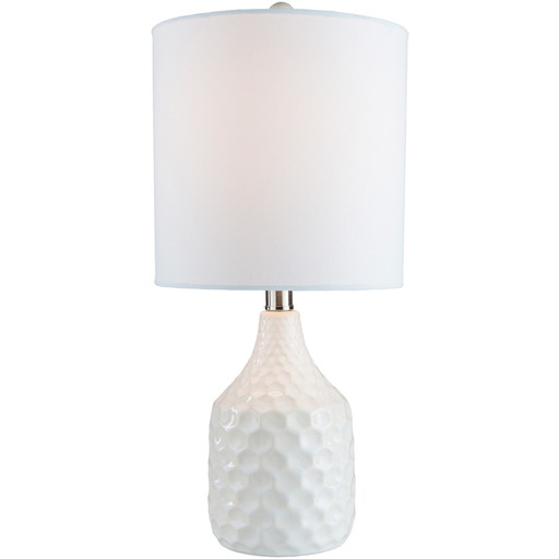 White Honeycomb Table Lamp with White Shade