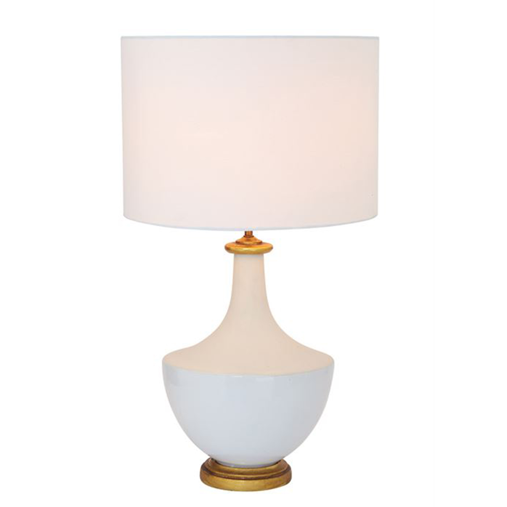 White and Gold Ceramic Table Lamp with White Shade