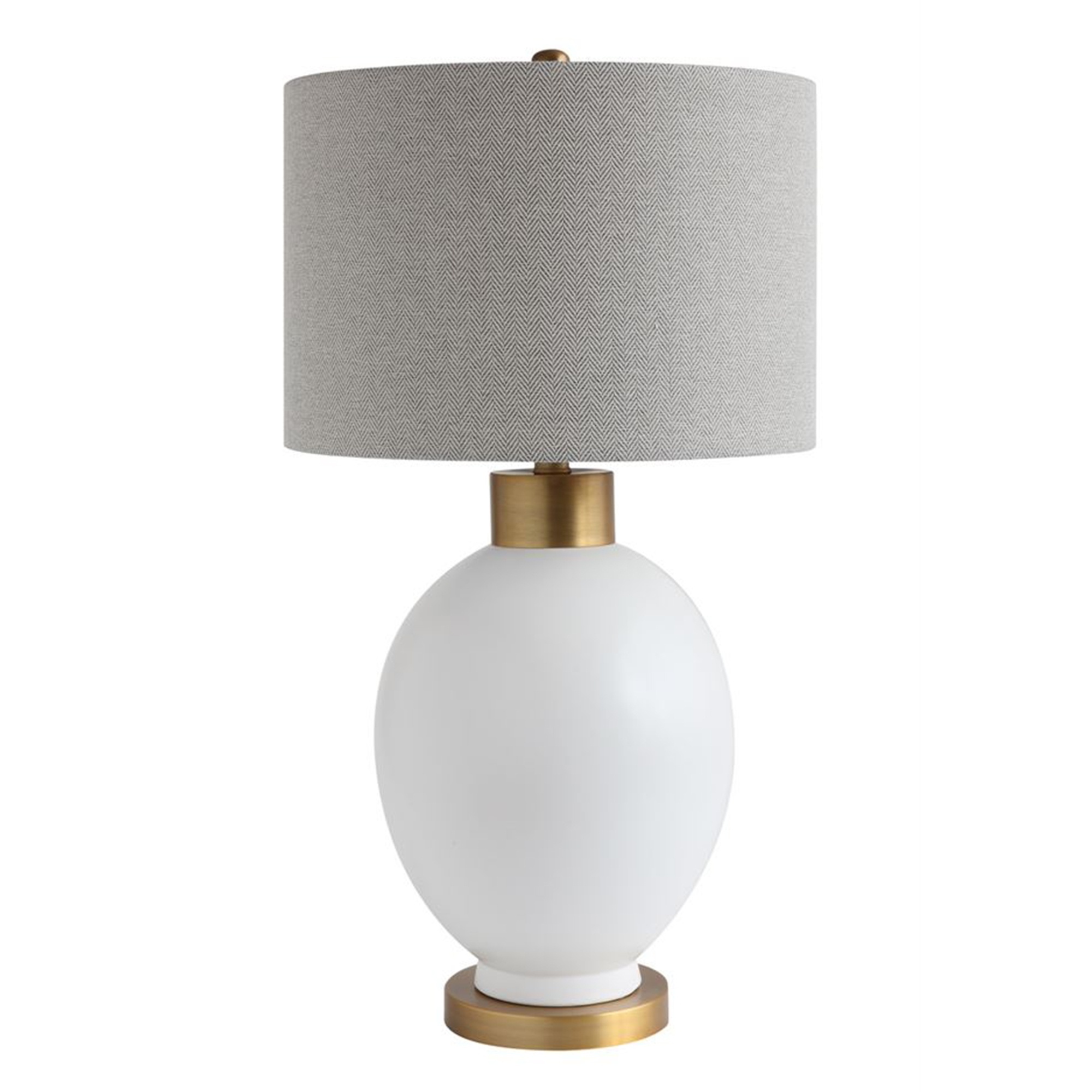 White and Gold Table Lamp with Gray Shade