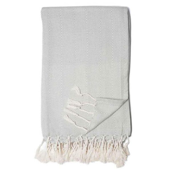 Mist Gray Organic Cotton Herringbone Print Throw Blanket with White Fringe Tassels