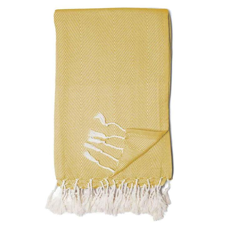 Citron Yellow Herringbone Print Throw Blanket with White Fringe Tassels