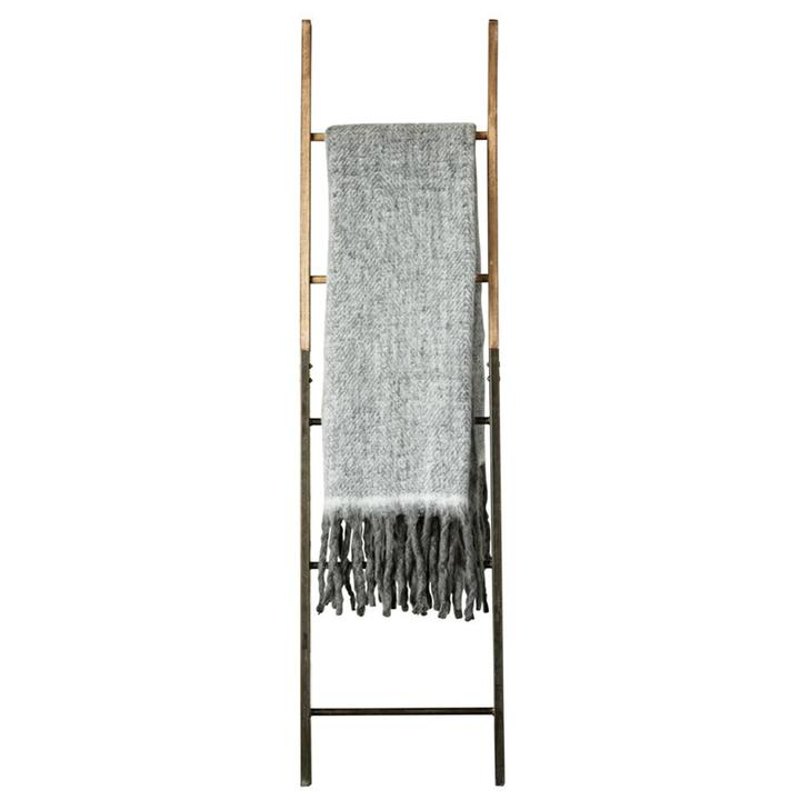 Gray Mohair Throw Blanket with Fringe