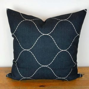 Charcoal Pillow Cover with White Trellis Print