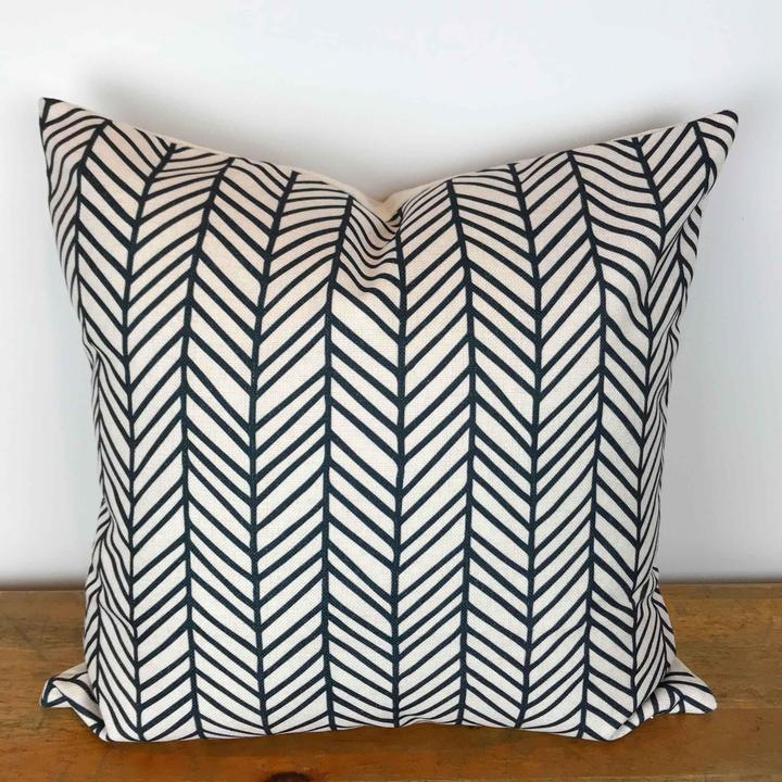 White Pillow Cover with Charcoal Modern Herringbone Print