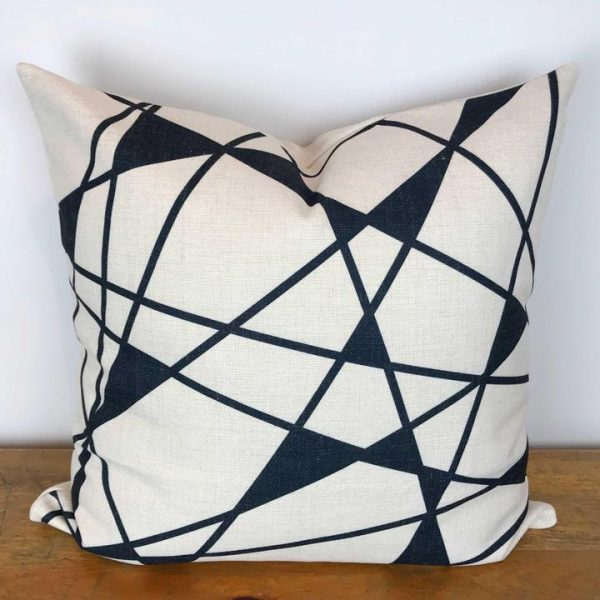 Black and Cream Pillow Cover with Geometric Print