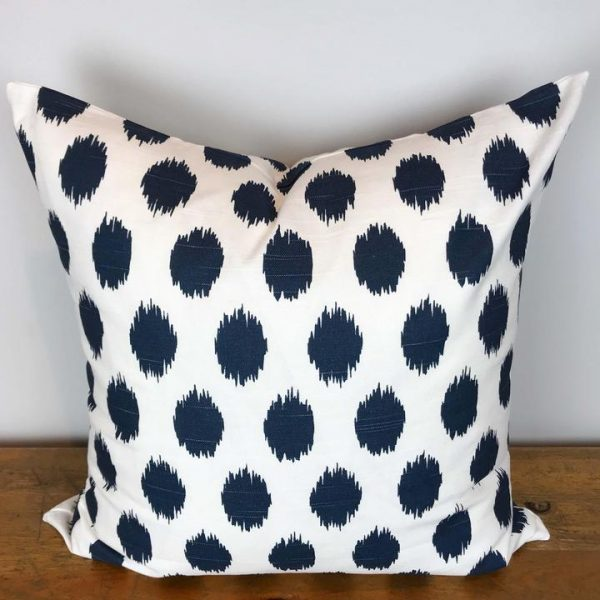 White Pillow Cover with Navy Blue Fuzzy Dot Print