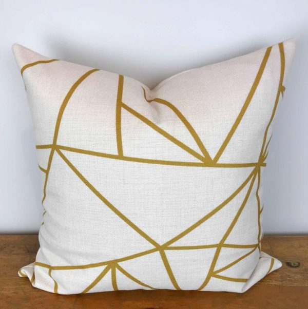 Cream Pillow Cover with Gold Geometric Print