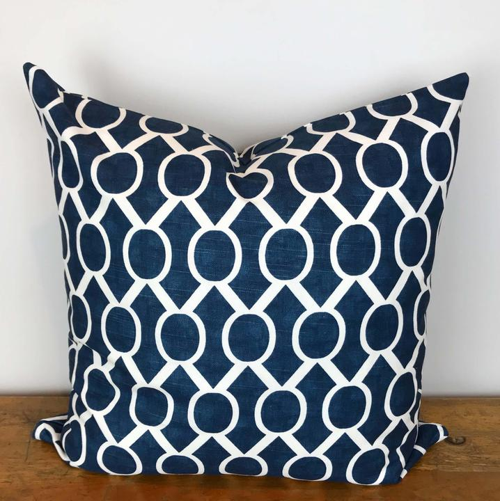 Navy and White Sydney Print Pillow Cover