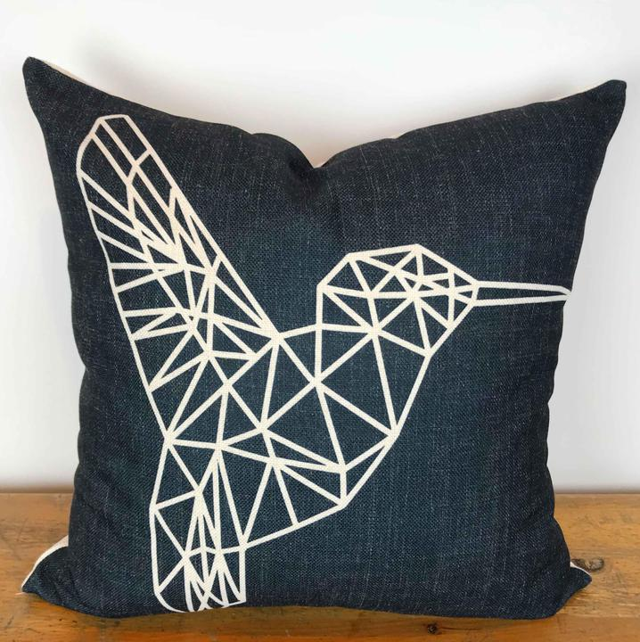 Charcoal Pillow Cover with White Geometric Hummingbird Print