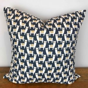 Navy Blue Pillow Cover with Alpaca Print