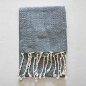 Gray tea towel with cream fringe