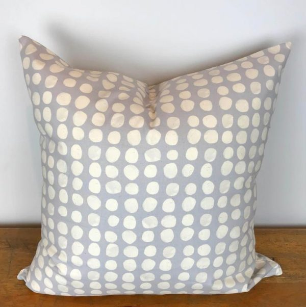 Gray Pillow Cover with Cream Pebble Print