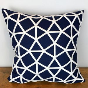 Navy Pillow Cover with White Embroidered Geometric Pattern