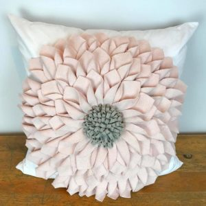 Blush Felt Flower with Gray Center Pillow Cover