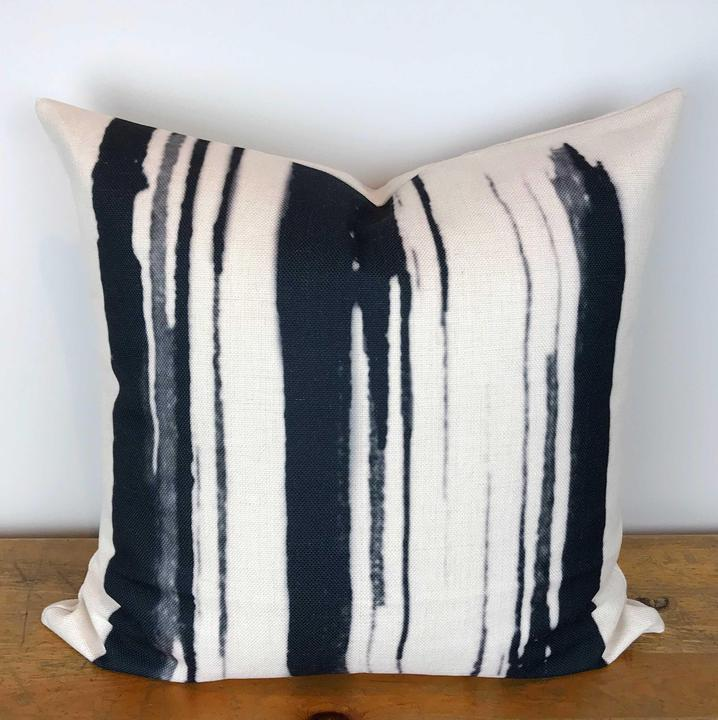 White Pillow Cover with Black Watercolor Print