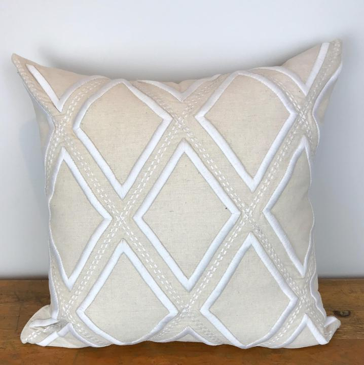 Natural Pillow Cover with White Embroidered Diamond Pattern