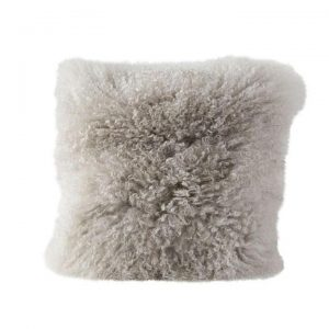 Gray Mongolian Lamb Fur Pillow