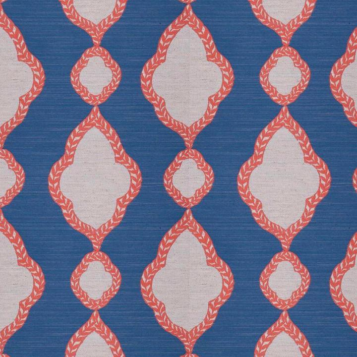 La Sprezzatura Coral and Blue Fabric per yard