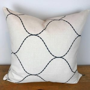 Cream Pillow Cover with Black Trellis Print