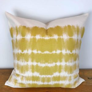 Cream Pillow Cover with Yellow Watercolor Print