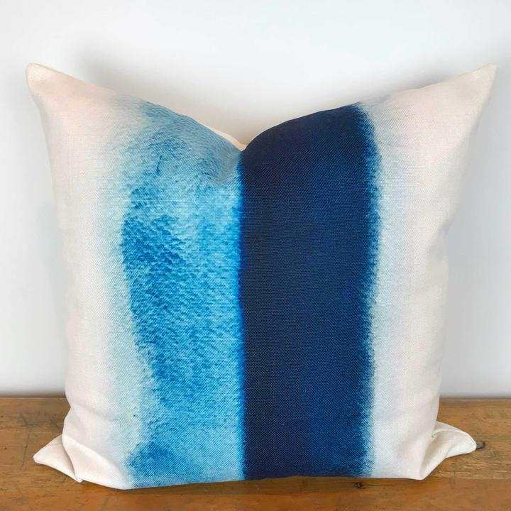 White Pillow Cover with Blue Stripe Watercolor Print
