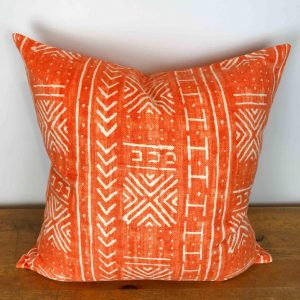 Orange Mali Mud Cloth Pillow Cover