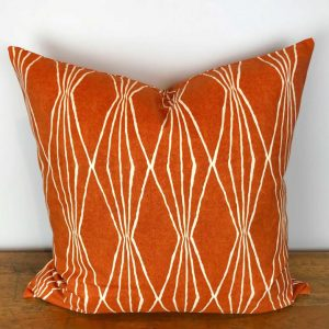 Orange Pillow Cover with White Diamond Stripes Print