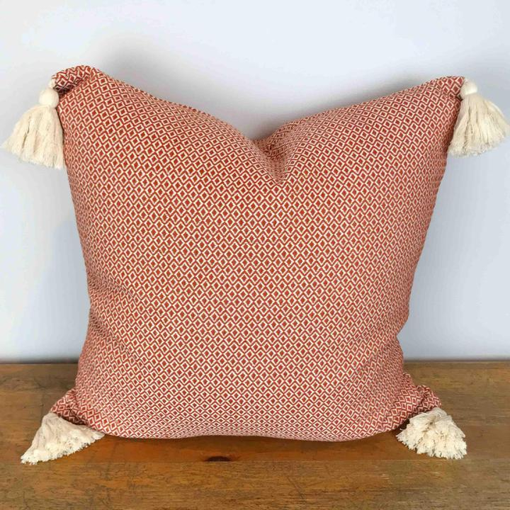 Coral Woven Pillow Cover with Cream Tassels