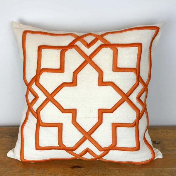 Natural Pillow Cover with Orange Embroidered Geometric Pattern