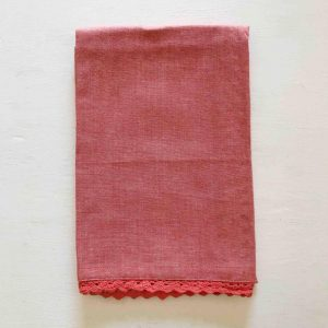 Coral Tea Towel with Scalloped Edge