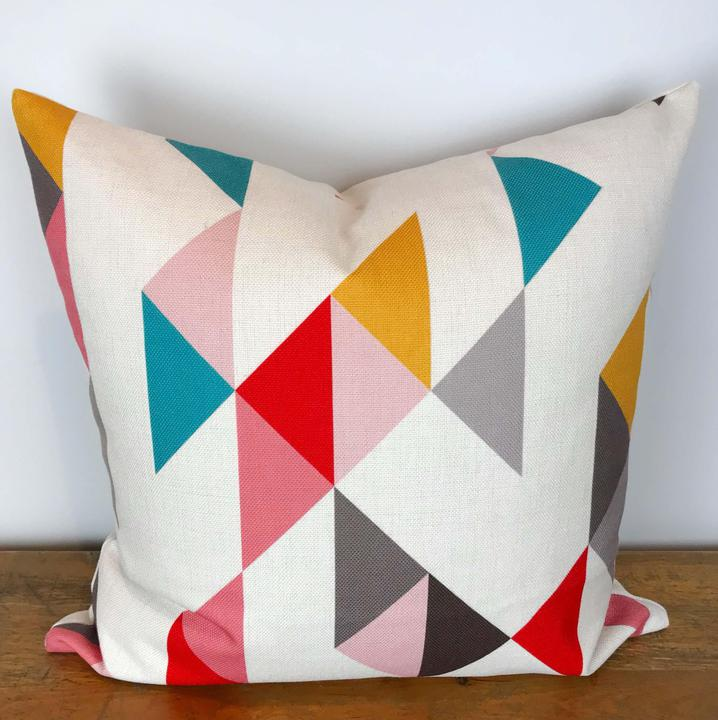 White Pillow Cover with Multicolor Triangle Print