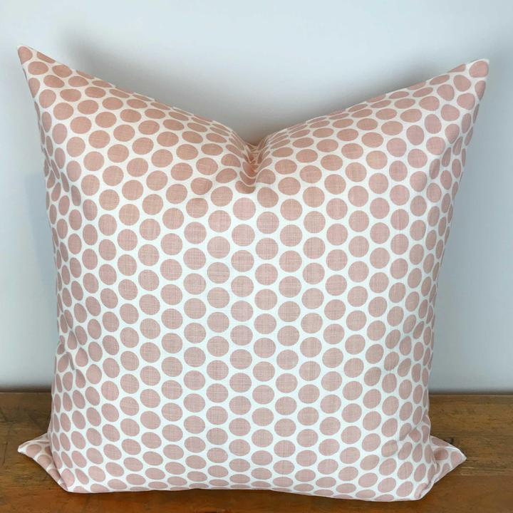 White Pillow Cover with Blush Pink Dot Print